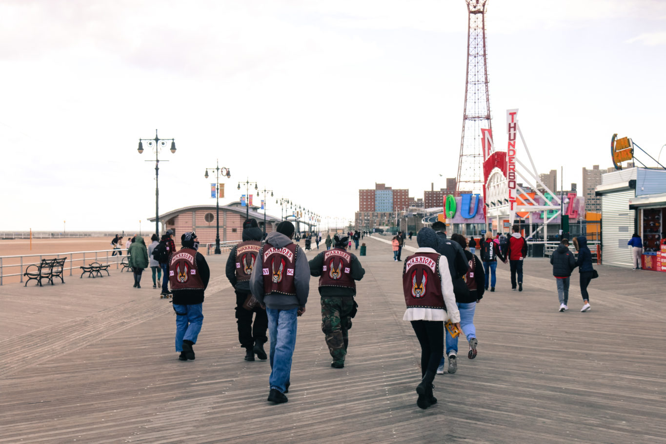 People dressed as The Warriors street gang on the Coney Island boardwalk in Brooklyn NYC