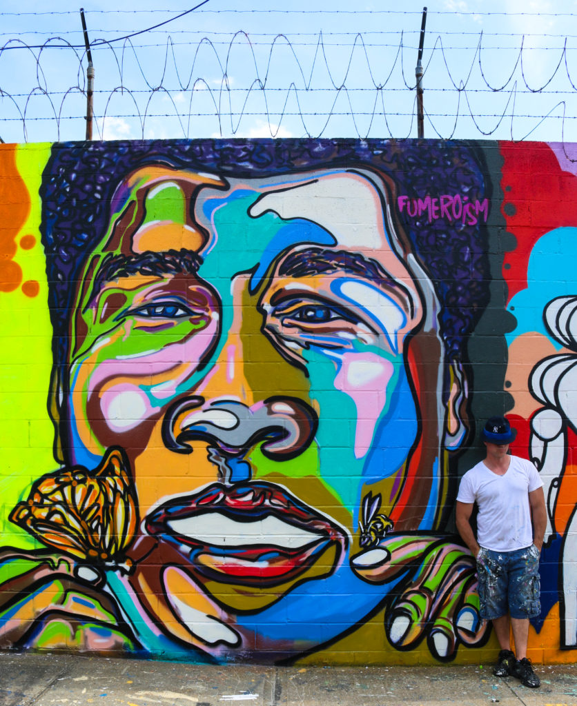 Muhammad Ali street art mural by Fumero at Welling Court in Astoria Queens