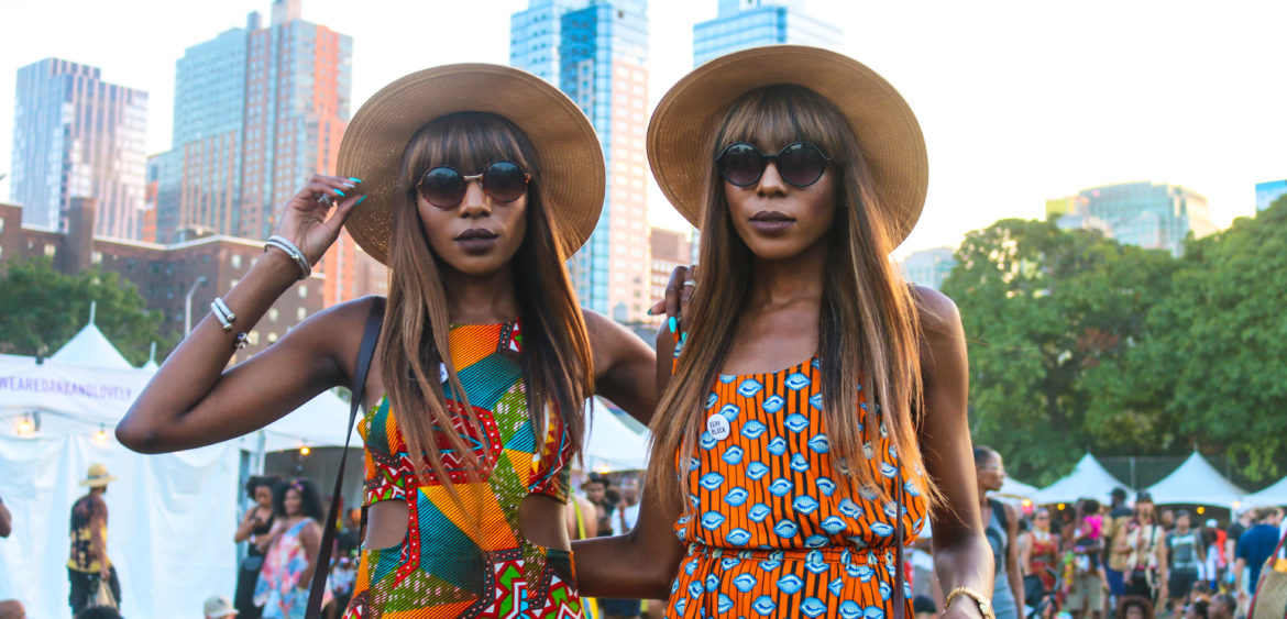 Fashionable attendees at the Afropunk festival in Brooklyn