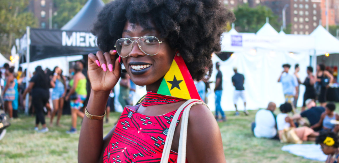 Fashionable attendee at the Afropunk festival in Brooklyn