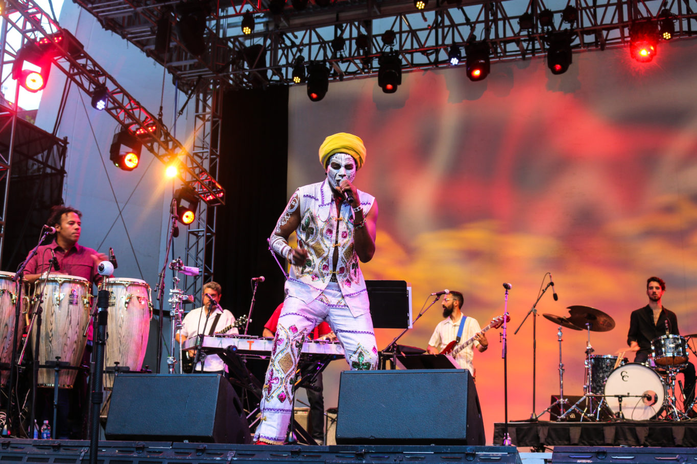 Music band Antibalas performing at the Okayafrica Afrobeat x Afrobeats show at Lincoln Center in NYC