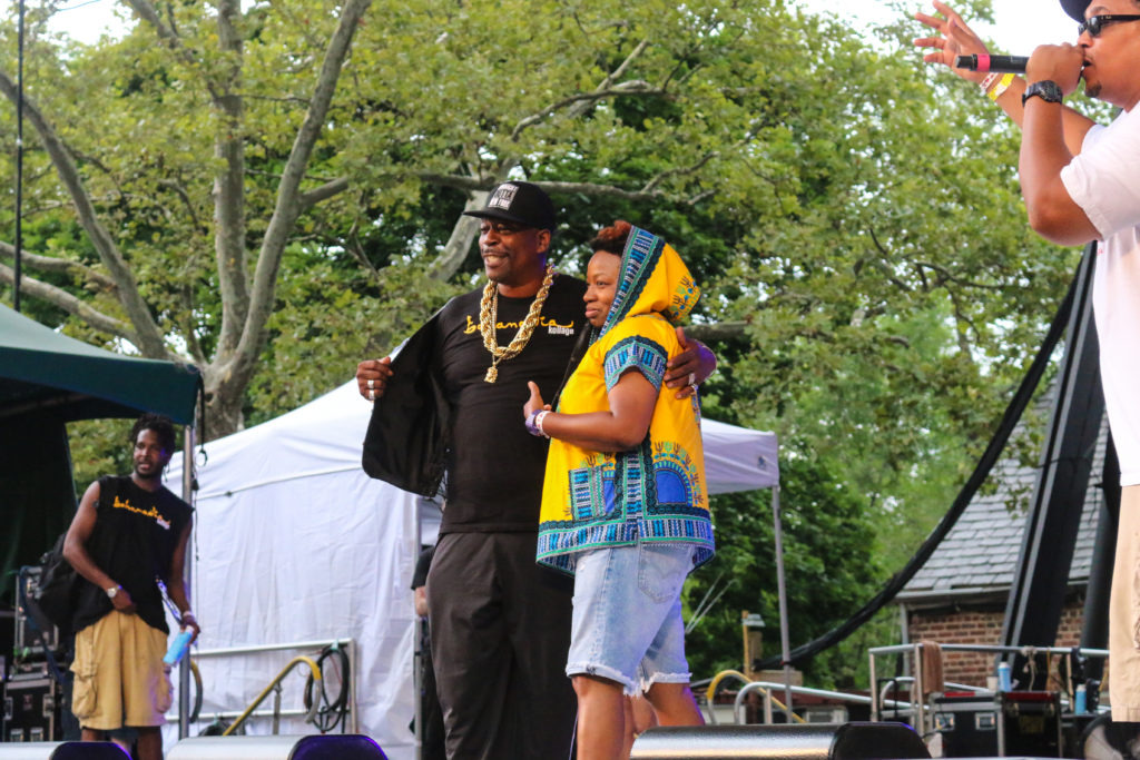 Grandmaster Caz and Bahamadia at the Rock Steady Crew 39th Anniversary show in Central Park