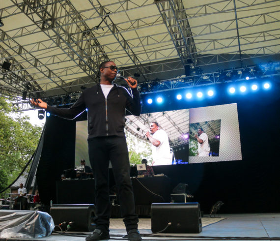 Hip-hop artist Doug E Fresh at the Rock Steady Crew 39th Anniversary show in Central Park