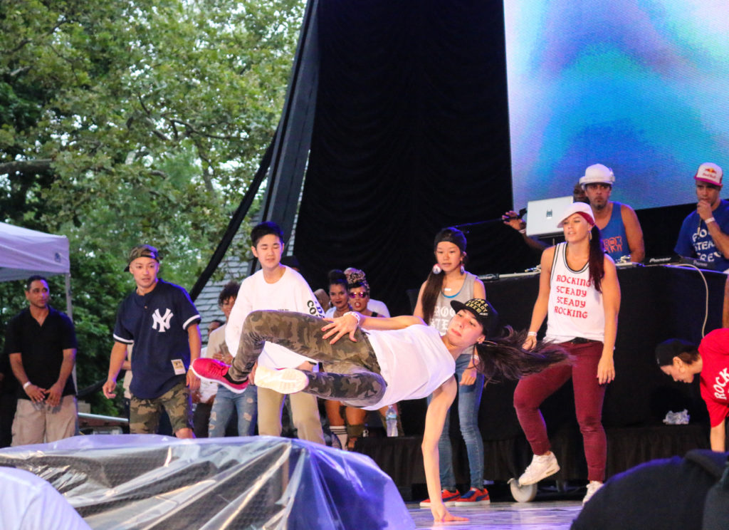 Dancers at the Rock Steady Crew 39th Anniversary show in Central Park
