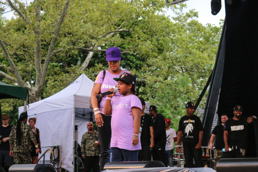 Sean Price's wife and daughter at the Rock Steady Crew 39th Anniversary show in Central Park
