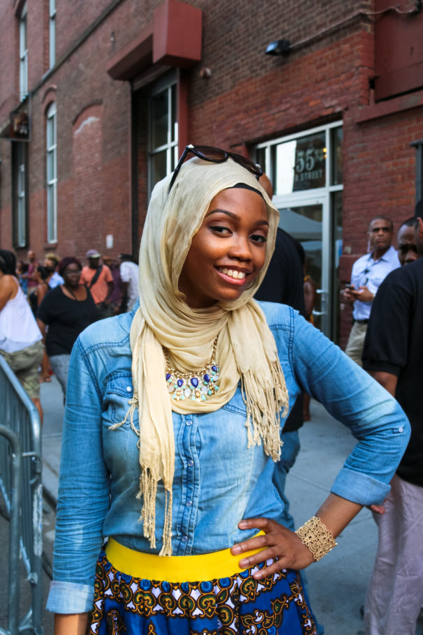 Fashionable attendee at the Essence Street Style Block Party in Brooklyn