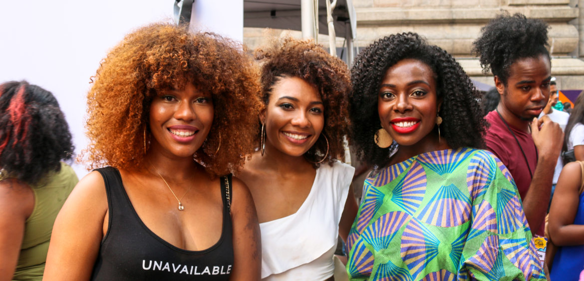 Fashionable attendees at the Essence Street Style Block Party in Brooklyn