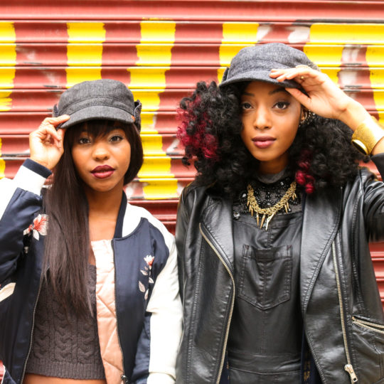 Female models promoting the Kangol Headwear fall/winter 2016 collection in Brooklyn, NY