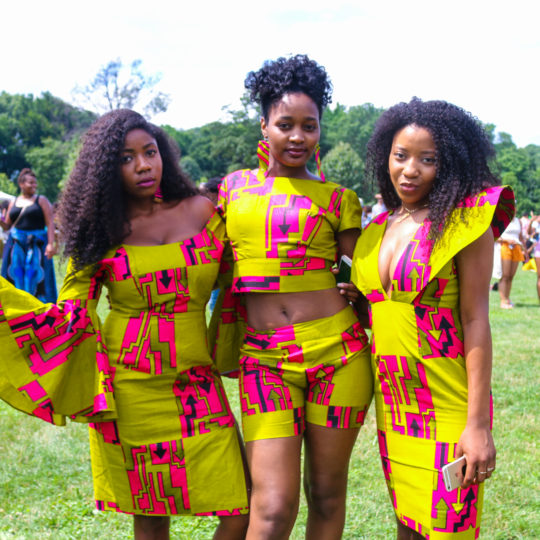 Fashionable women attending Curlfest in Prospect Park in Brooklyn